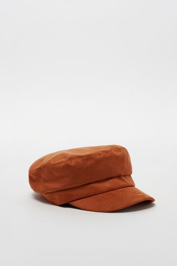 Solid colour suede-effect baker boy hat