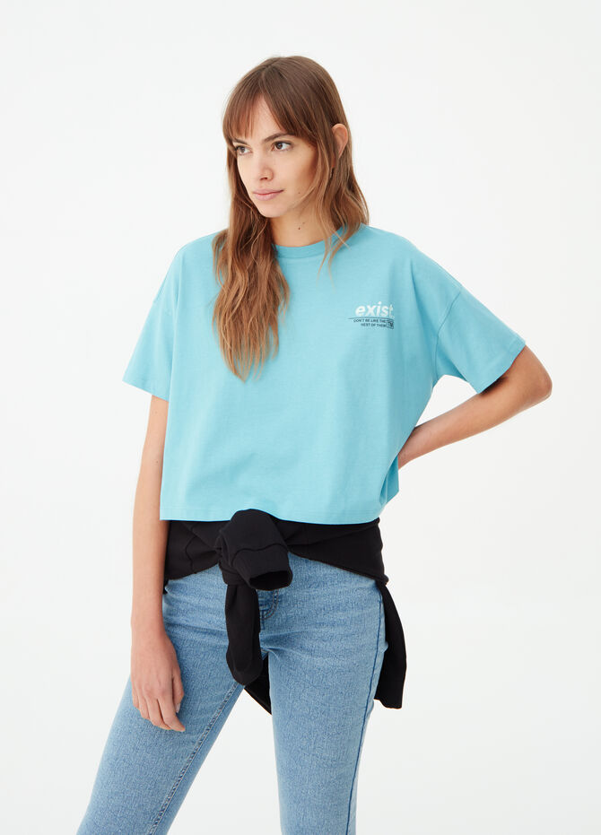 T-shirt cropped con stampa lettering