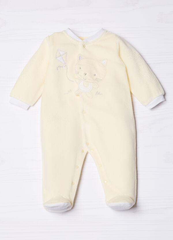 Cotton blend onesie with cat patch | OVS
