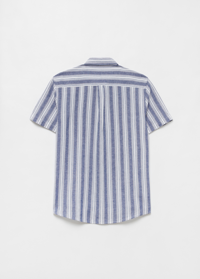Linen and cotton shirt with button-down collar image number null