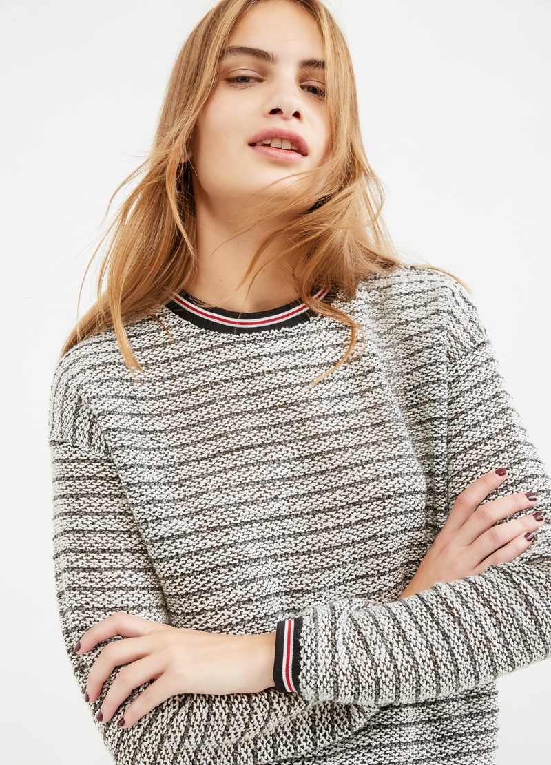 Striped, 100% cotton sweatshirt image number null