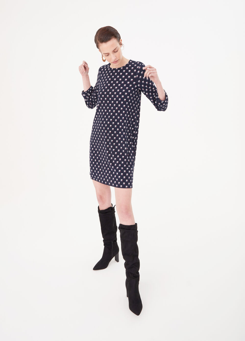 Crêpe jersey dress with geometric print