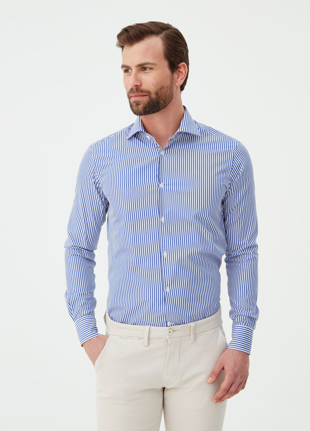 Camicia slim fit in popeline a righe