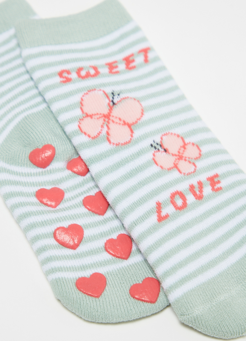 Two-pair pack slipper socks with fruit and butterflies image number null