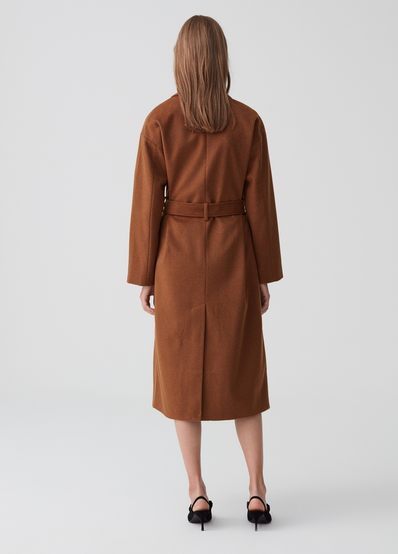 Wool blend coat with belt image number null