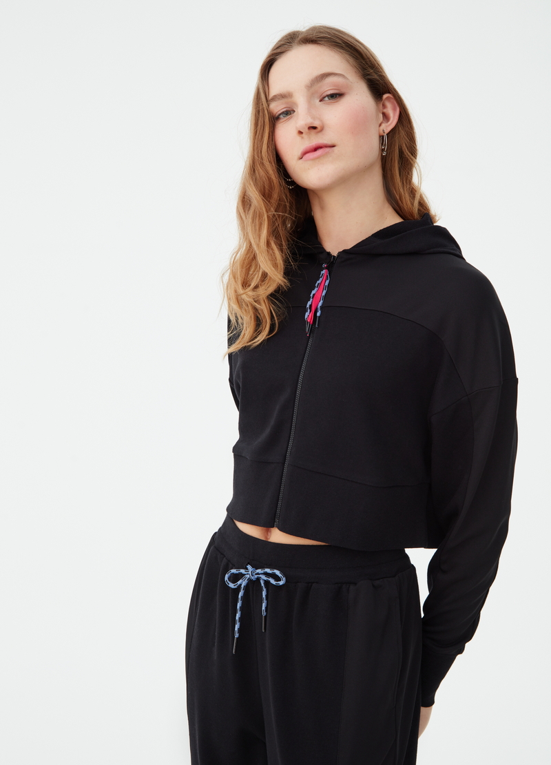 Felpa full-zip in French Terry crop image number null