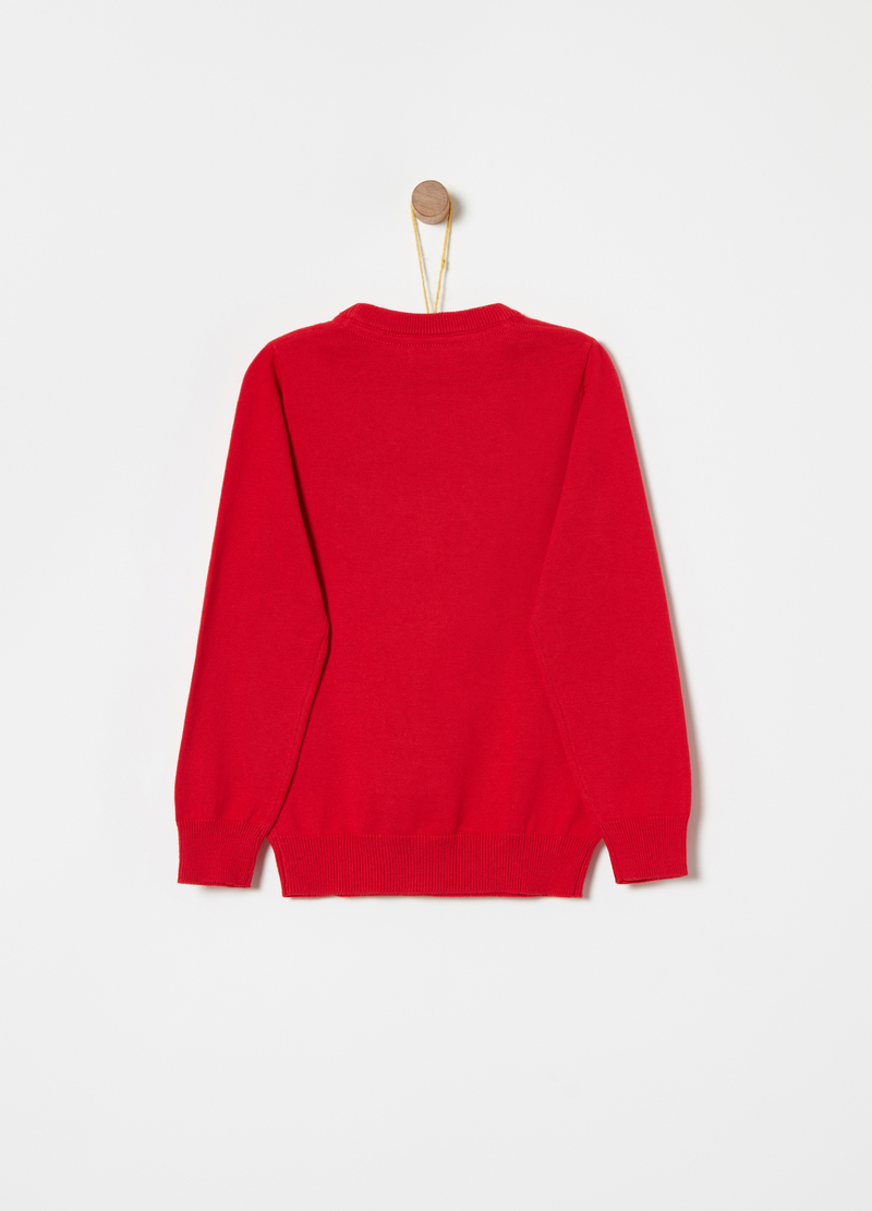 Cotton pullover with weave on the shoulders image number null