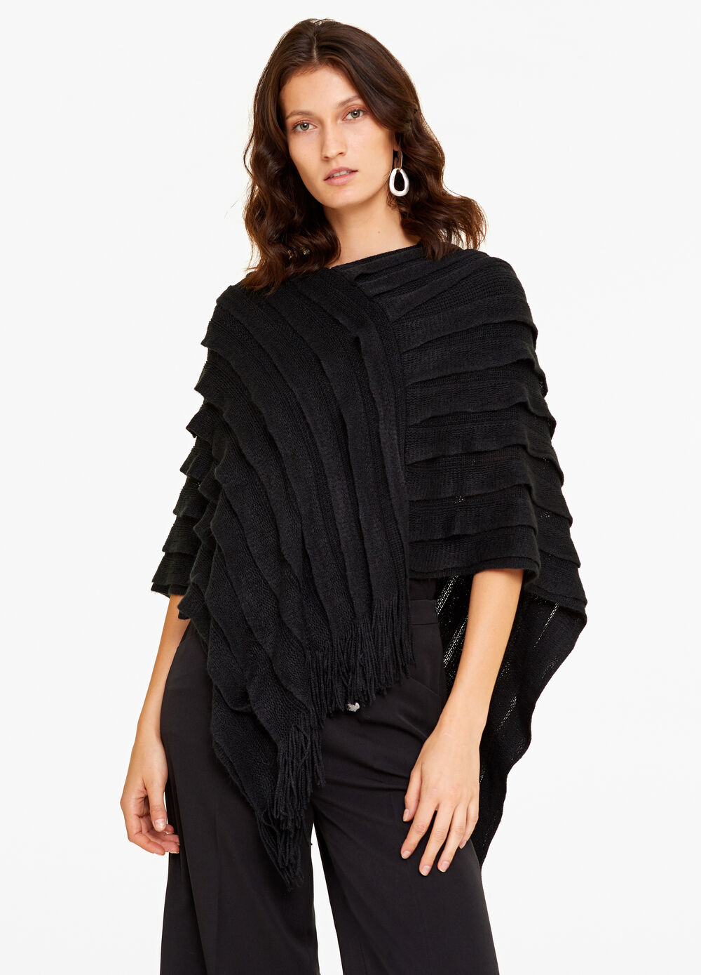 Poncho with ruffles