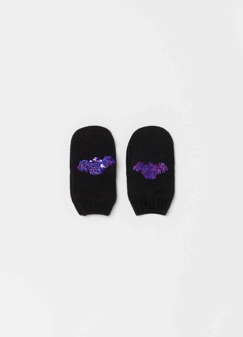 Knitted mittens with bat sequins image number null