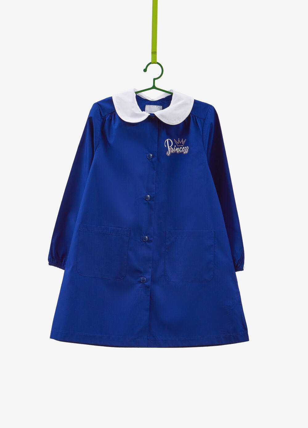 Embroidered cotton blend smock with diamantés