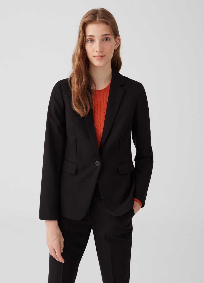 Solid colour blazer with lapels and pockets image number null