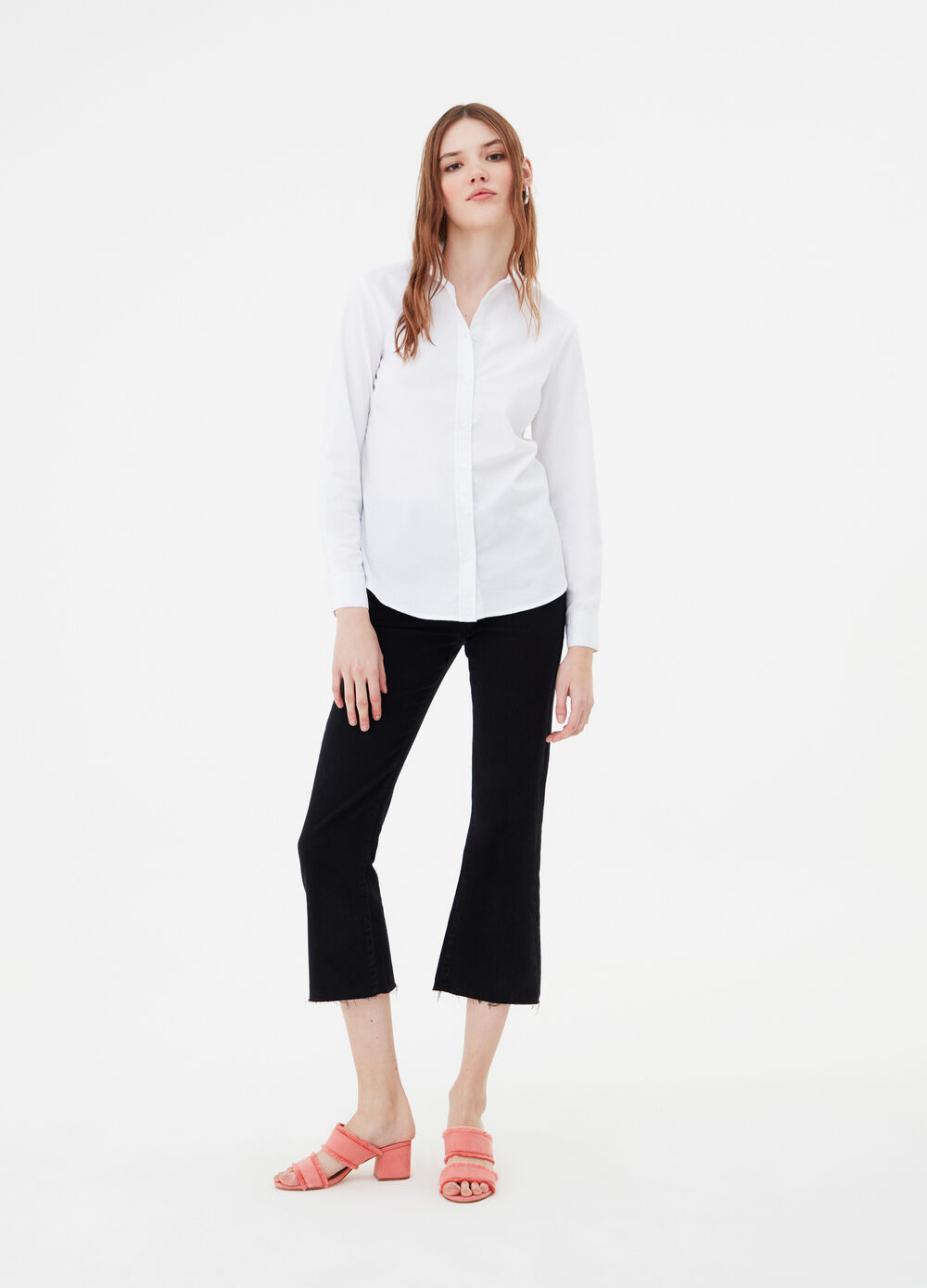 Stretch cotton shirt with rounded hem