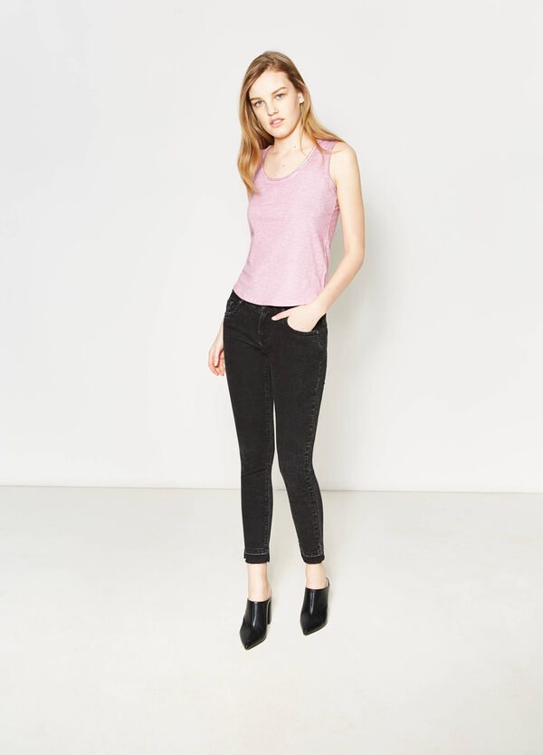 Cotton top with raw edges   OVS