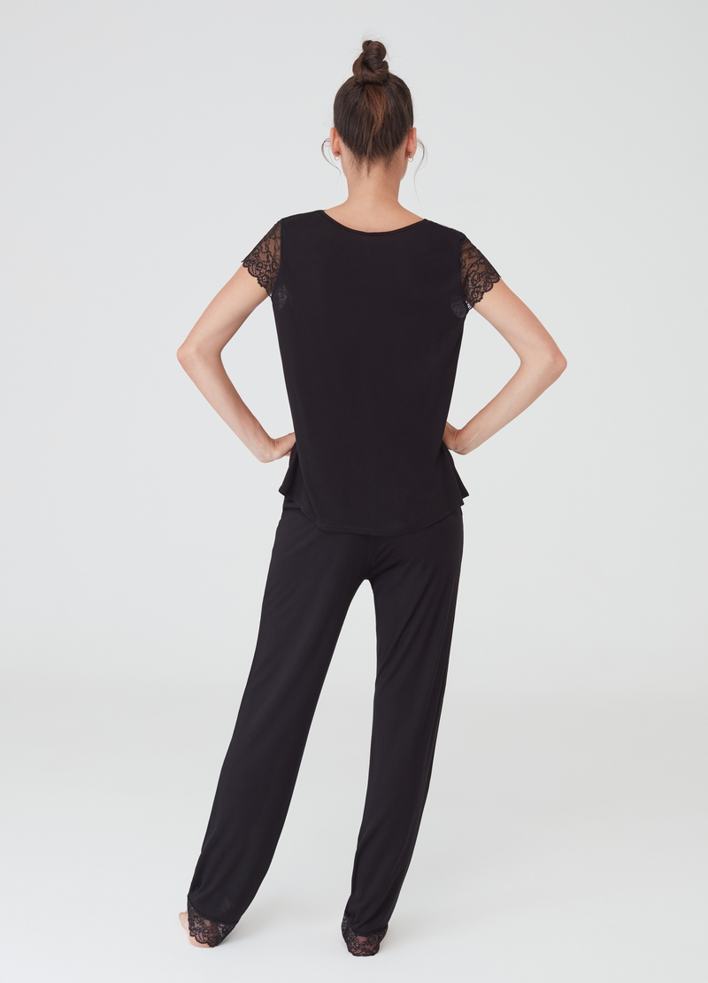 Pyjama trousers with drawstring and lace image number null