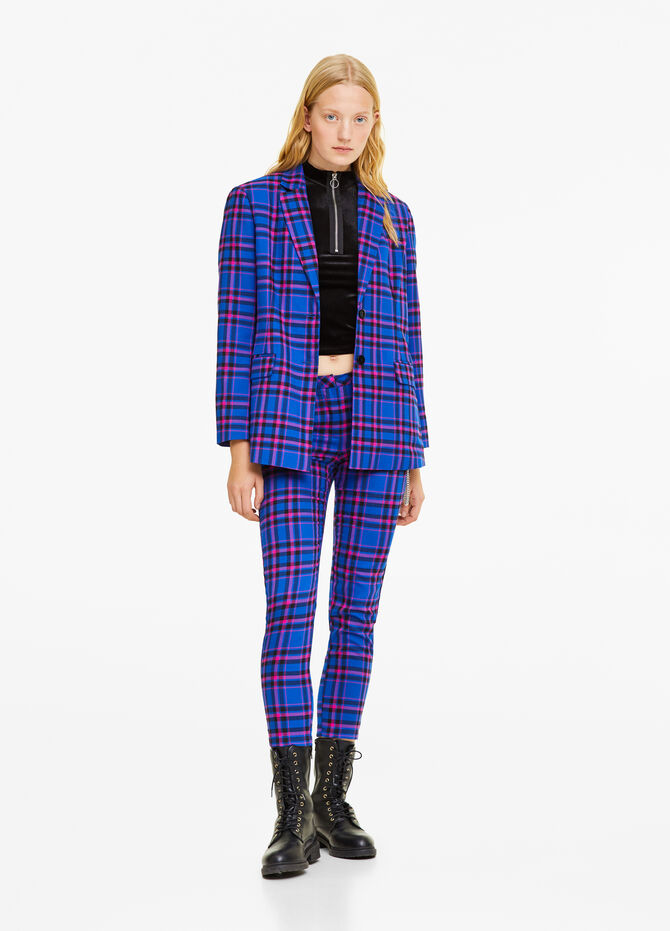 Two-button blazer with check lapels