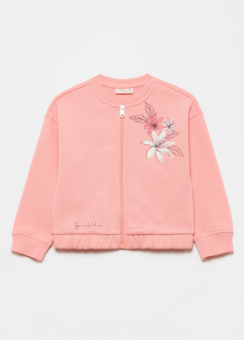 100% cotton full-zip sweatshirt with glitter print image number null