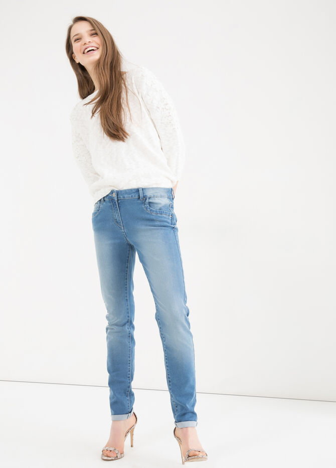 Worn-effect stretch jeans