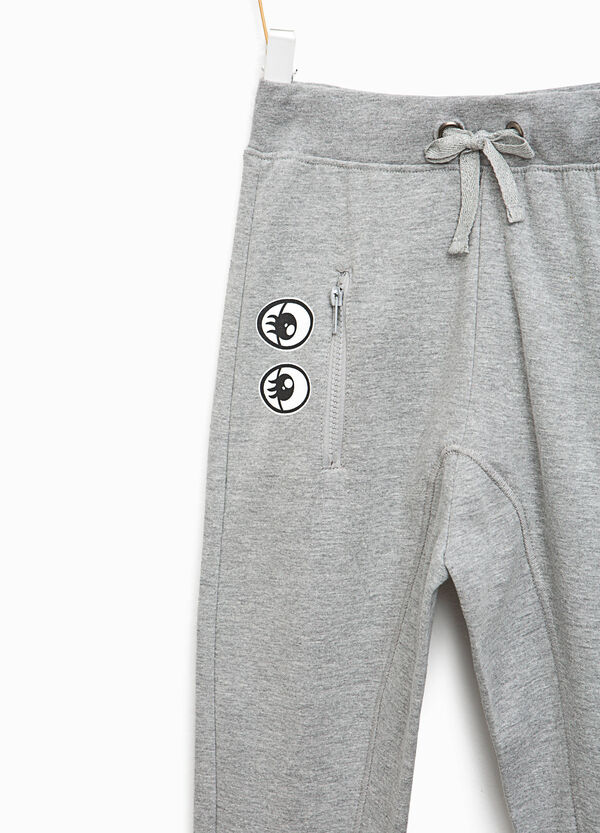 Cotton joggers with eyes print | OVS