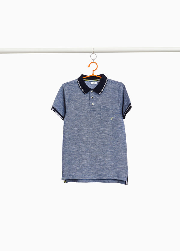 100% cotton mélange polo shirt with pocket