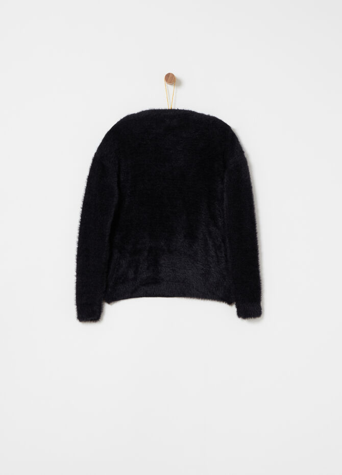 Fur-effect pullover with furry thread