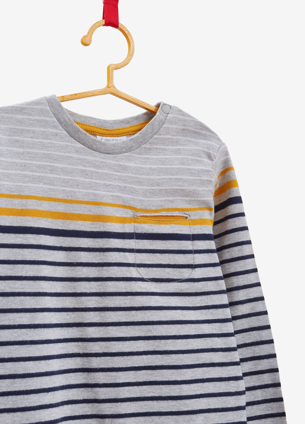Viscose and cotton T-shirt with striped pattern