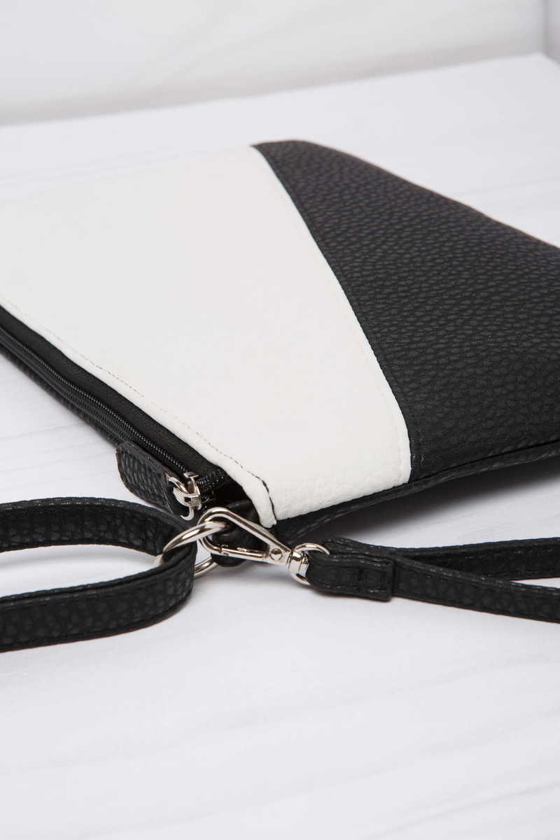 Two-colour leather look clutch bag image number null