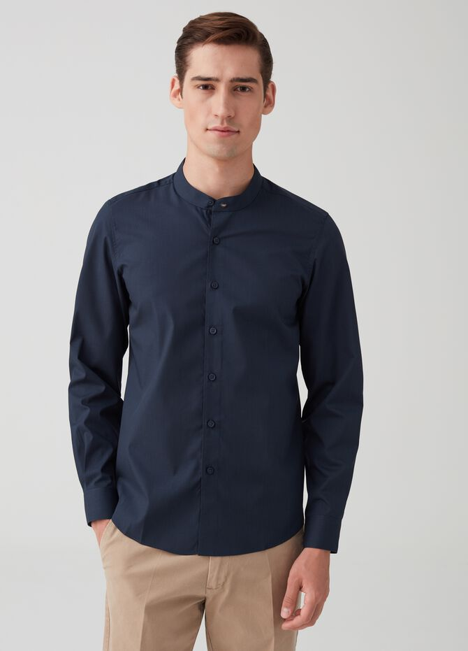 Camicia regular fit colletto alla coreana