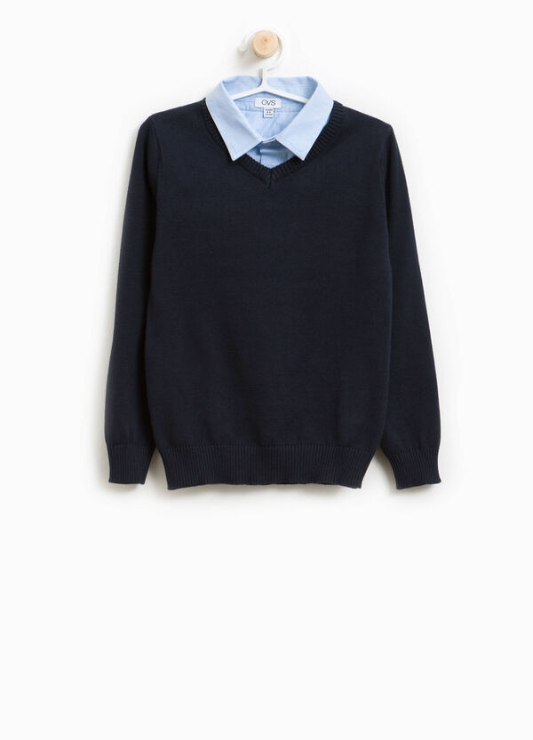 Cotton pullover with faux layer collar | OVS