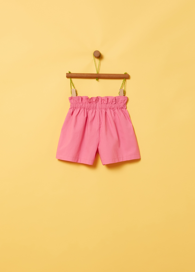 Shorts puro cotone con rouche image number null