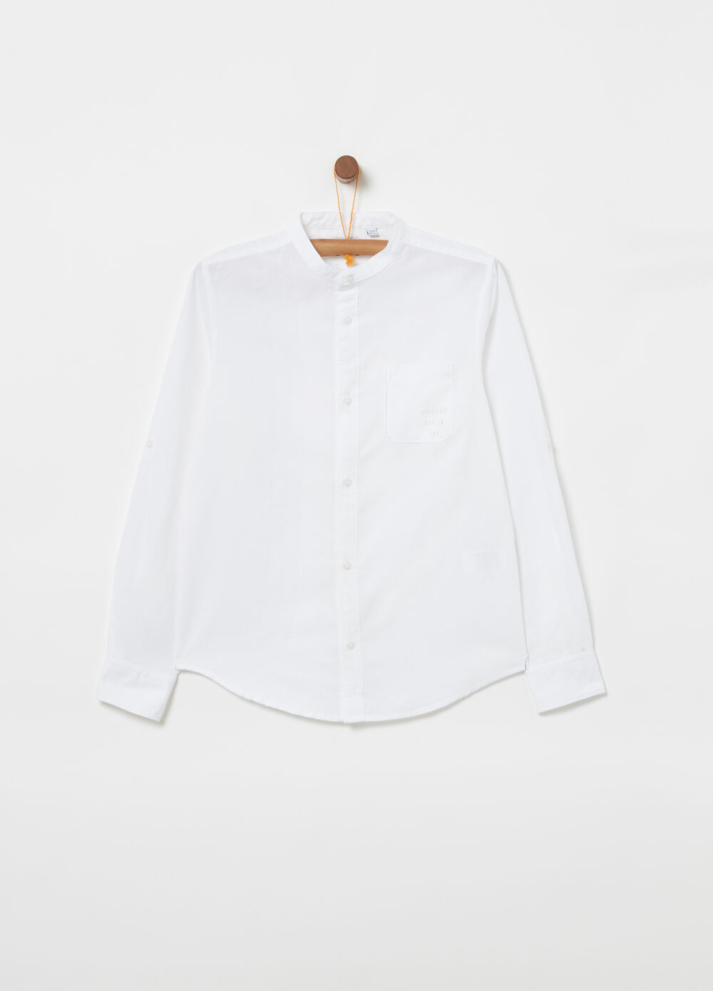 Shirt with Mandarin collar and printed pocket