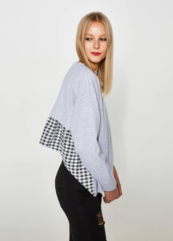 Cotton blend sweatshirt with asymmetric hem | OVS