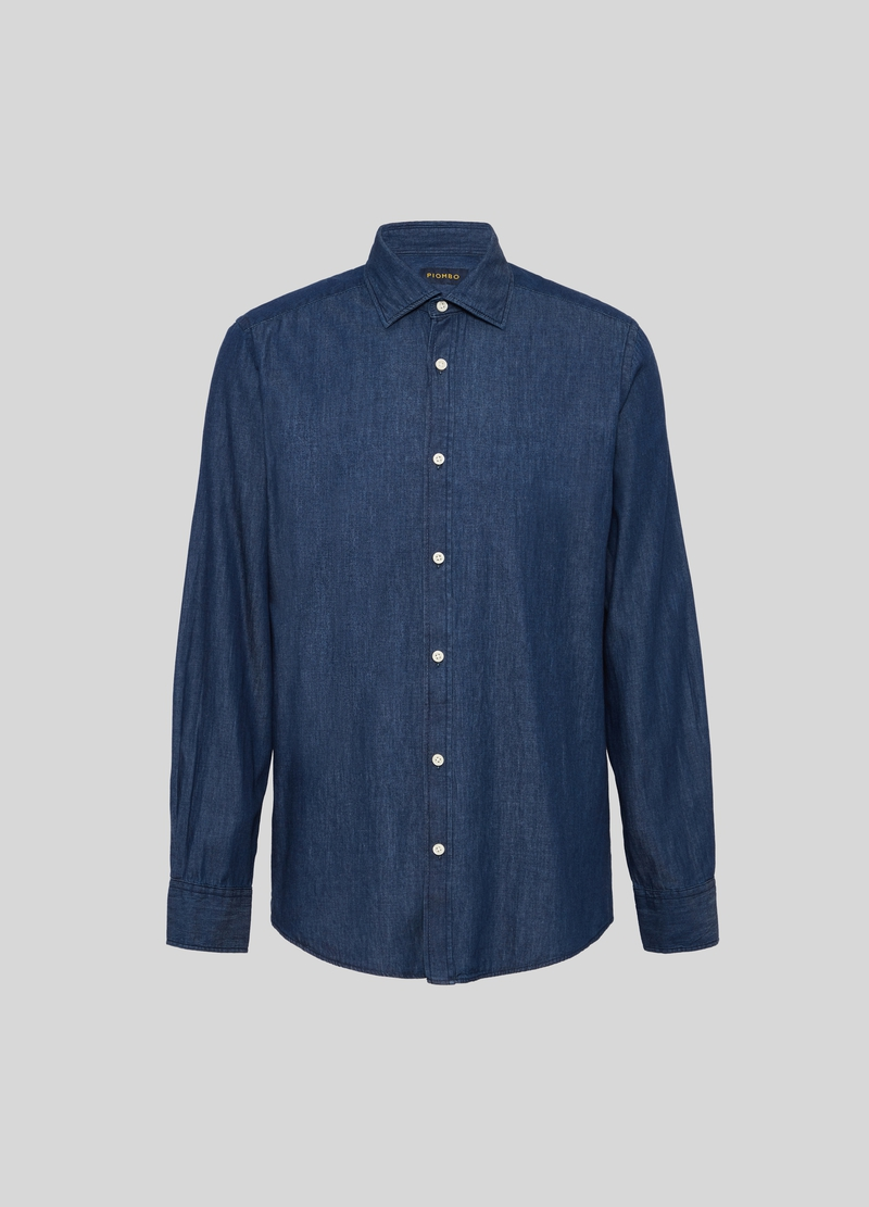 PIOMBO denim shirt with bluff collar image number null
