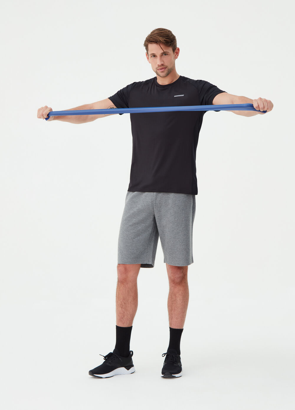 Solid colour stretch T-shirt with print
