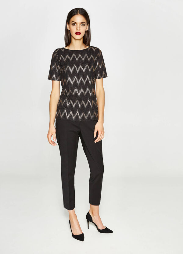 Stretch T-shirt with geometric pattern | OVS