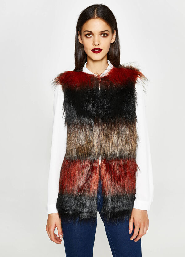 Gilet in similpelliccia a righe