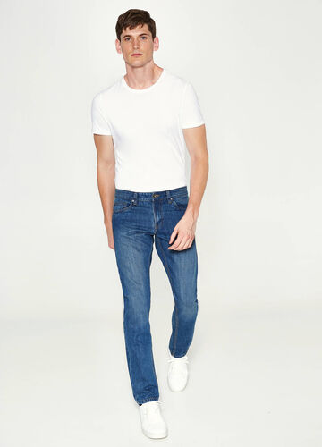 Jeans straight fit con scoloriture