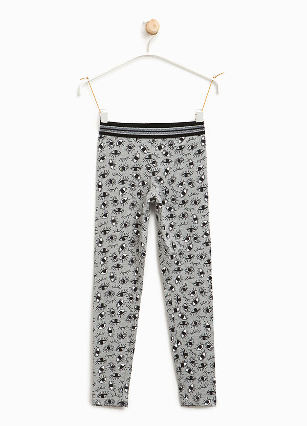 Cotton leggings with eyes print | OVS