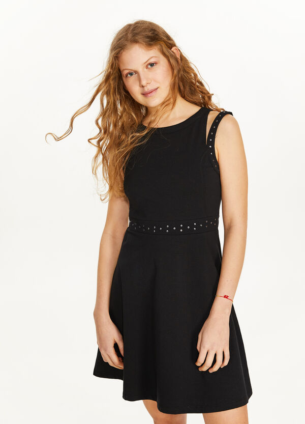 Stretch sleeveless dress with opening