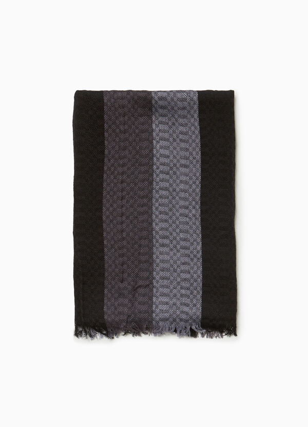 Striped jacquard scarf in cotton and viscose