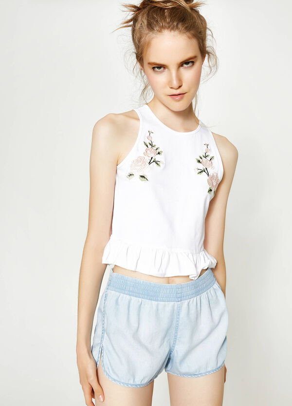 Cropped top with frill and embroidery | OVS