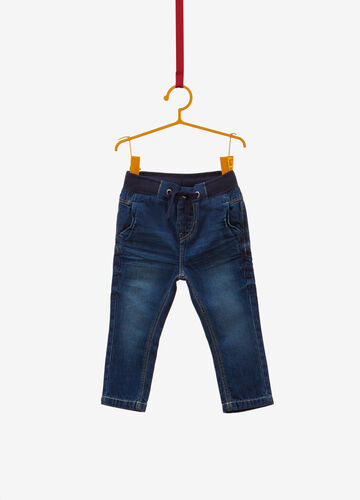 Jeans regular fit delavato con coulisse