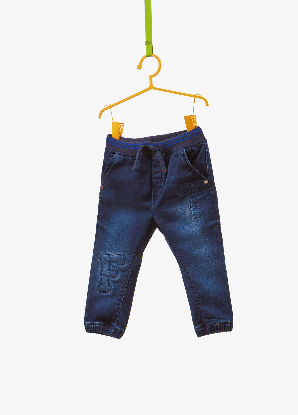 Regular-fit stretch jeans with lettering embroidery