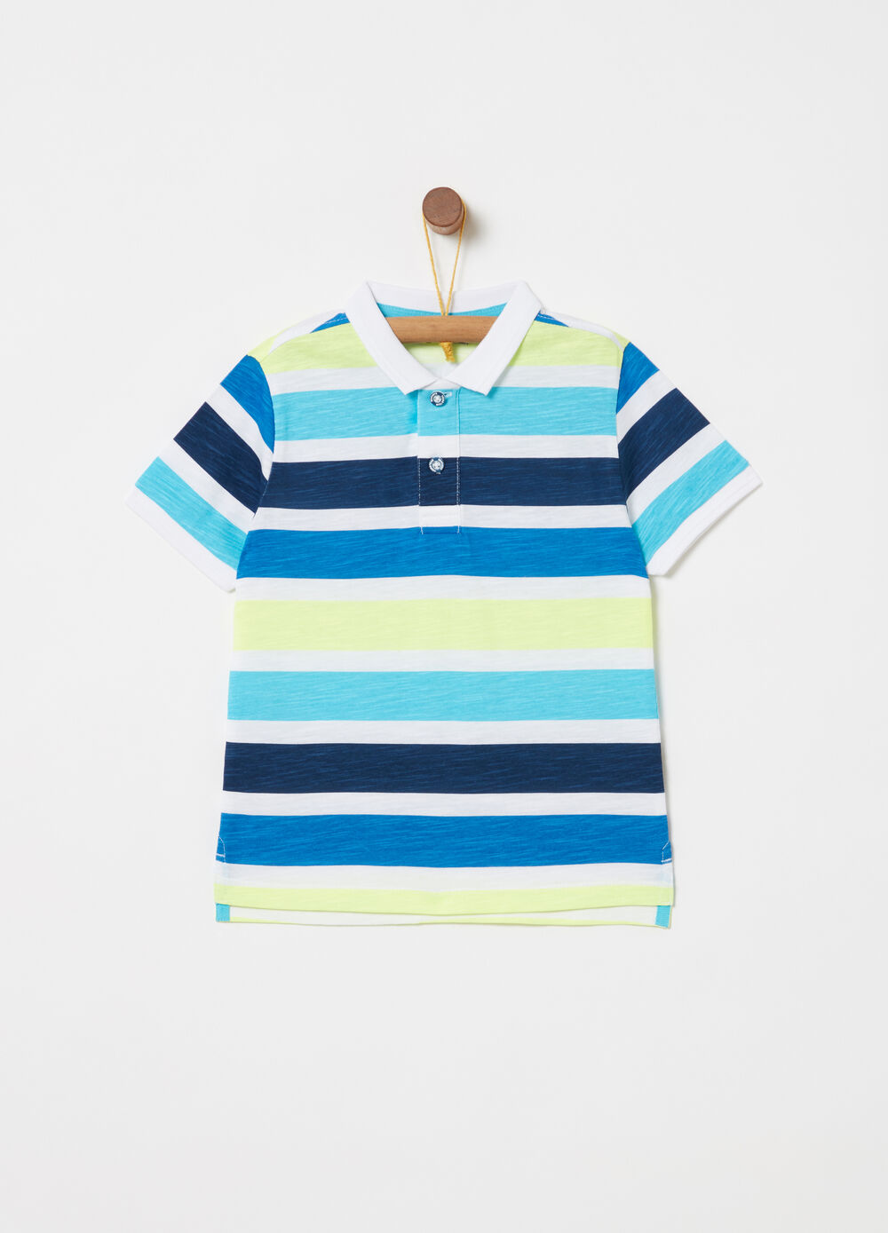 Polo shirt in cotton with stained details