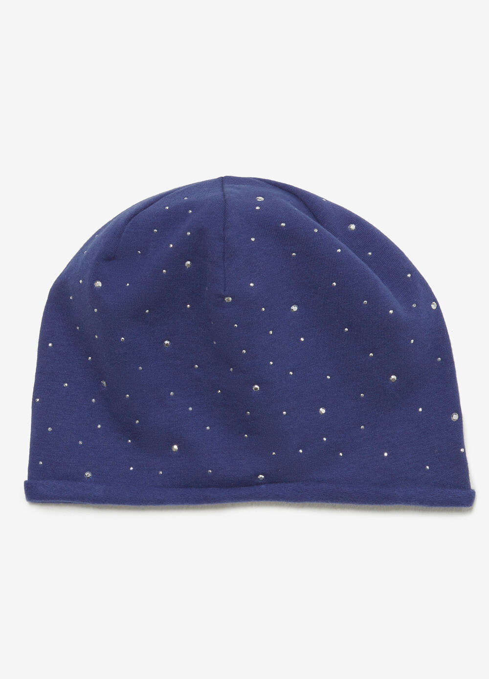 Jersey cotton beanie cap with studs