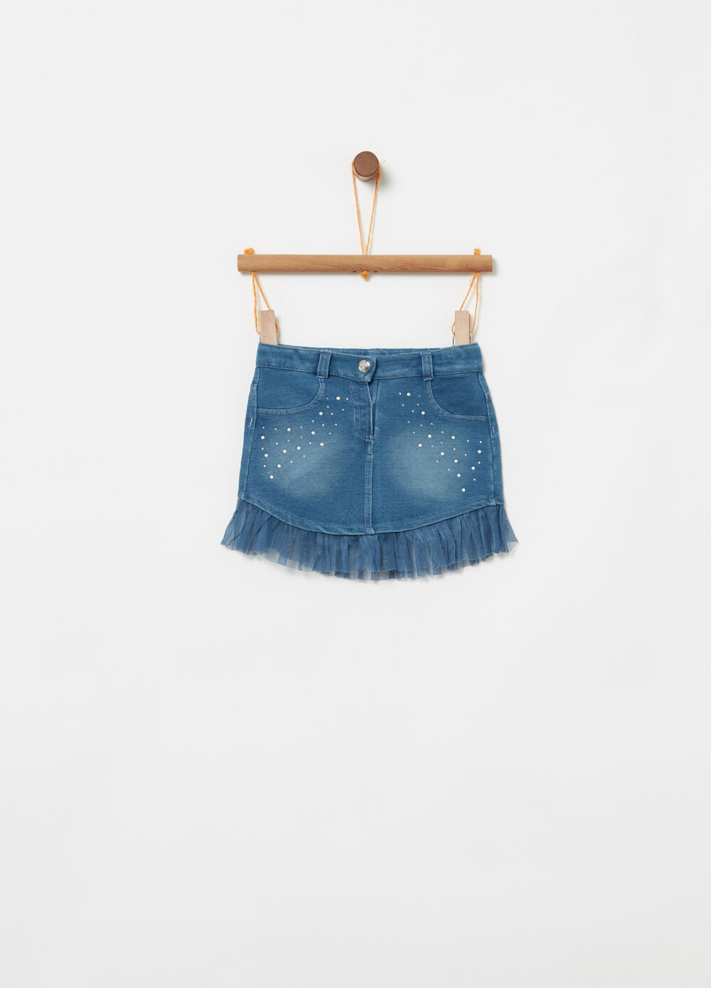 Denim skirt with diamanté, pearl and tulle details