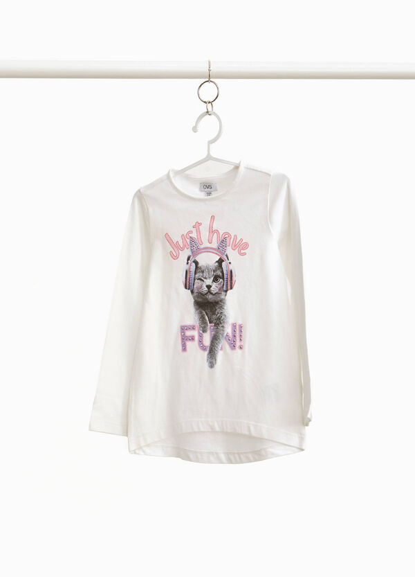 Stretch cotton T-shirt with kitten print