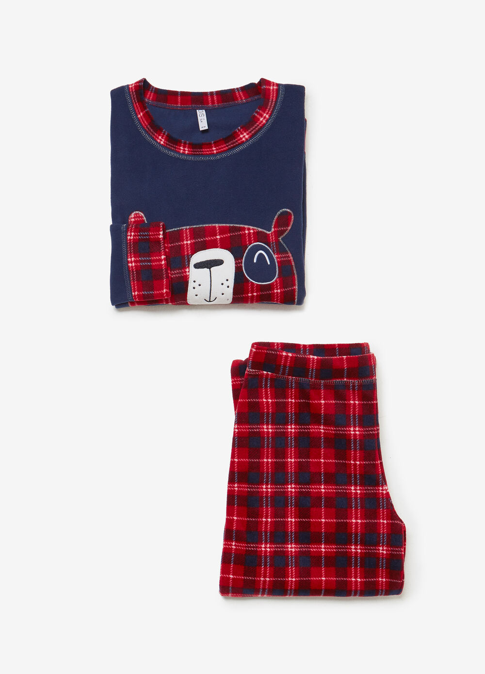 Pigiama pile con patch animaletto tartan