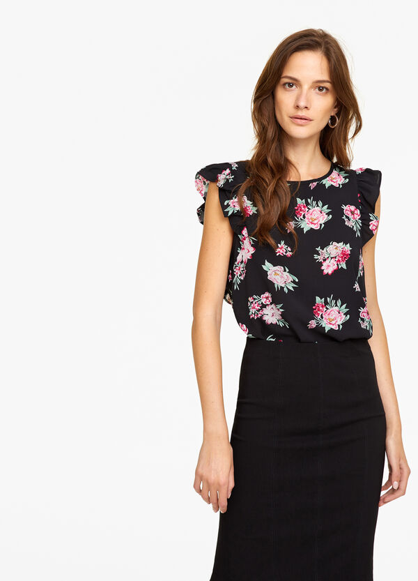 Stretch patterned blouse with flounce