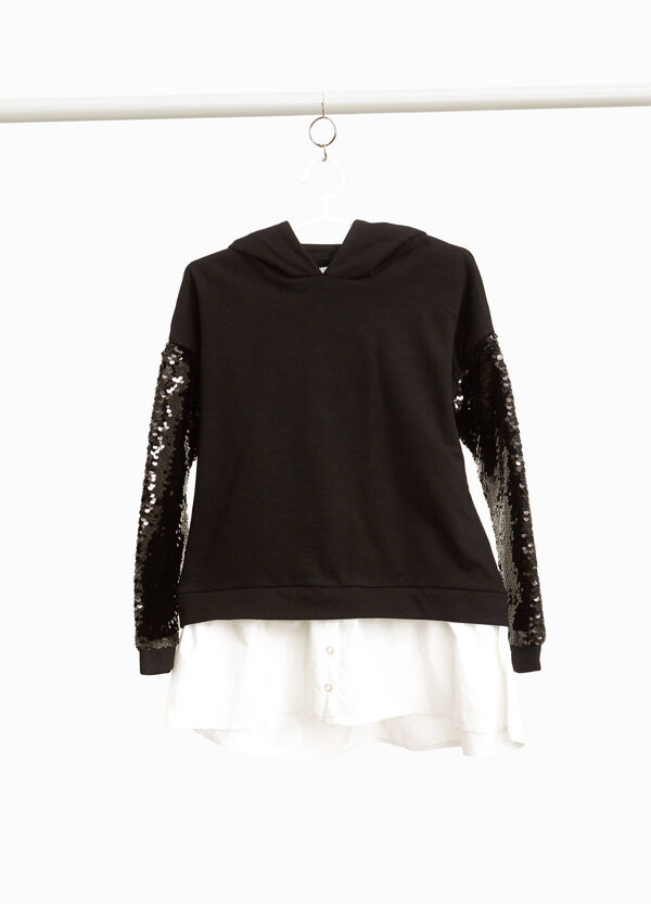 Sweatshirt with sequinned sleeves