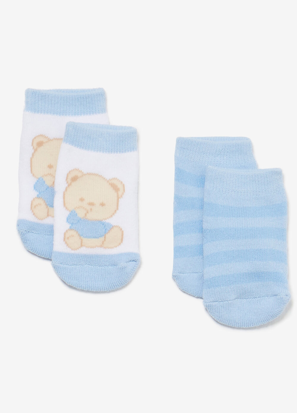 Two-pair pack stripes and teddy bears socks